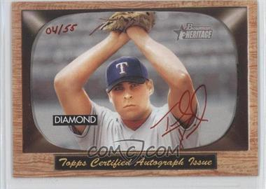 2004 Bowman Heritage Signs of Greatness Red Ink #SGA-TD - Thomas Diamond /55