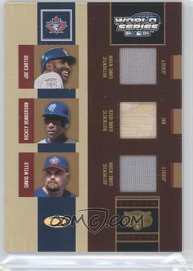 2004 Donruss World Series Triple Threads #TT-9 - Rickey Henderson, David Wells, Joe Carter /100