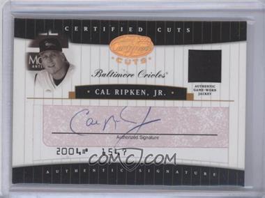2004 Leaf Certified Cuts Check Signatures Red Materials [Memorabilia] #CC-10 - Cal Ripken Jr. /10