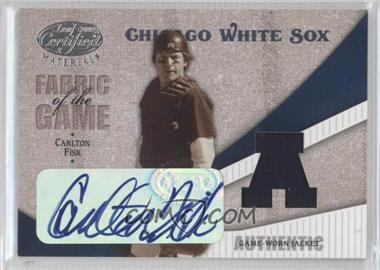 2004 Leaf Certified Materials - Fabric of the Game - AL/NL Autograph [Autographed] #FG-147 - Carlton Fisk /3