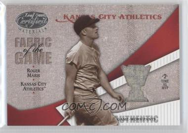 2004 Leaf Certified Materials - Fabric of the Game - Award #FG-108 - Roger Maris /50