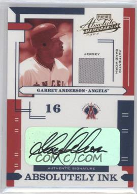 2004 Playoff Absolute Memorabilia Absolutely Ink Materials [Memorabilia] #AI-50 - Garret Anderson /100