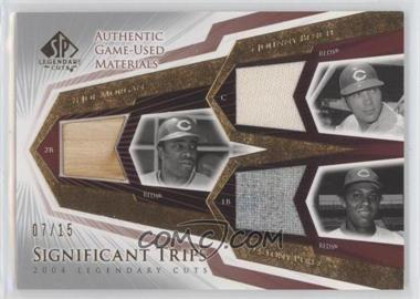 2004 SP Legendary Cuts Significant Trips Materials #STJ-MBP - Joe Morgan, Johnny Bench, Tony Perez /15