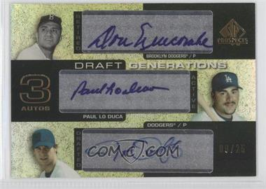 2004 SP Prospects - Draft Generations Triple Autographs #DG-NLO - Paul Lo Duca, Don Newcombe, Justin Orenduff /25