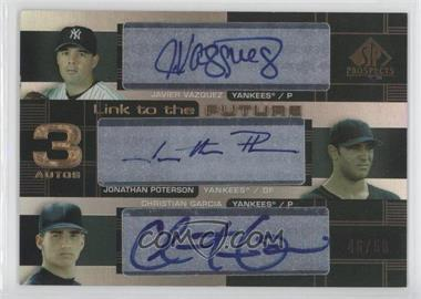 2004 SP Prospects Link to the Future Triple Autographs #LFT-VPG - Javier Vazquez, Jonathan Poterson, Christian Garcia /50