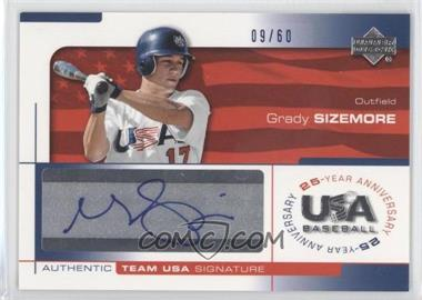 2004 Upper Deck USA Baseball 25-Year Anniversary - Signatures - Blue Ink #SIZE - Grady Sizemore /60