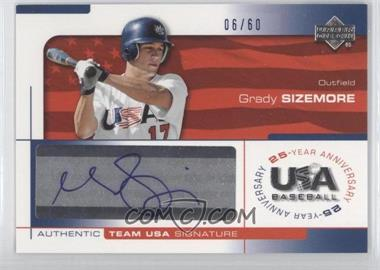 2004 Upper Deck USA Baseball 25-Year Anniversary Signatures Blue Ink #SIZE - Grady Sizemore /60