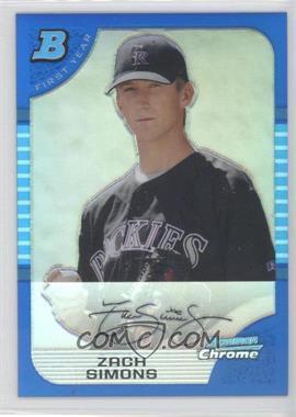 2005 Bowman Draft Picks & Prospects Chrome Blue Refractor #BDP91 - Zach Simons /150
