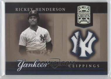 2005 Donruss Greats - Yankee Clippings Materials #YC-22 - Rickey Henderson