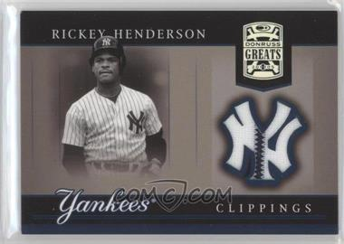 2005 Donruss Greats Yankee Clippings Materials #YC-22 - Rickey Henderson