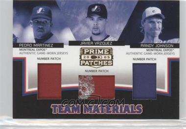 2005 Donruss Prime Patches Team Materials Triple Number Patch #TM-8 - Javier Vazquez, Randy Johnson, Pedro Martinez /47