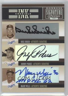 2005 Donruss Signature Series - INKcredible Signatures Trios #IS-40 - Duke Snider, Johnny Podres, Maury Wills