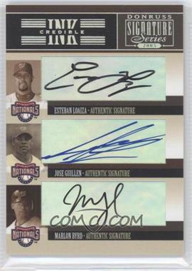 2005 Donruss Signature Series INKcredible Signatures Trios #IS-43 - Esteban Loaiza, Jose Guillen, Marlon Byrd