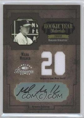 2005 Donruss Timeless Treasures Rookie Year Materials Jersey Number Signatures [Autographed] #RYM-40 - Mark Mulder /20