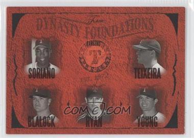 2005 Flair - Dynasty Foundations #28DF - Alfonso Soriano, Mark Teixeira, Hank Blalock, Nolan Ryan, Michael Young /500