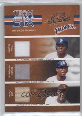 2005 Playoff Absolute Memorabilia - Team Six - Materials [Memorabilia] #TS-51 - Tony Gwynn, Rickey Henderson, Joe Carter, Brian Lawrence, Robert Fick, Dennis Tankersley /150