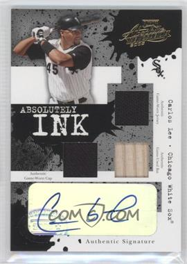 2005 Playoff Absolute Memorabilia Absolutely Ink Triple Materials [Memorabilia] #AI-45 - Carlos Lee /50