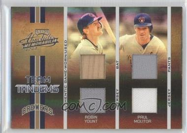 2005 Playoff Absolute Memorabilia Team Tandems Spectrum Double Materials [Memorabilia] #TT-11 - Paul Molitor, Robin Yount /50