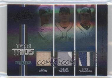 2005 Playoff Absolute Memorabilia Team Trios Spectrum Black Single Materials Prime [Memorabilia] #TT-4 - B.J. Upton, Carl Crawford, Rocco Baldelli /10