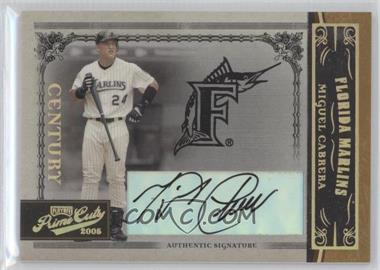 2005 Playoff Prime Cuts Century Gold Autograph [Autographed] #21 - Miguel Cabrera /25