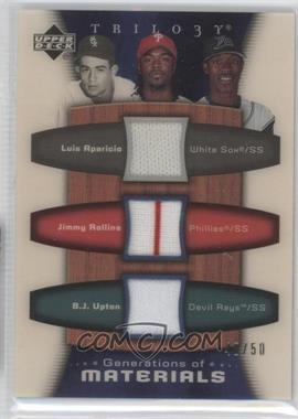 2005 Upper Deck Trilogy - Generations of Materials #ARU - Luis Aparicio, Jimmy Rollins, B.J. Upton /50
