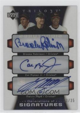 2005 Upper Deck Trilogy Generations of Signatures #GENS-RRM - Brooks Robinson, Melvin Mora, Cal Ripken Jr. /35