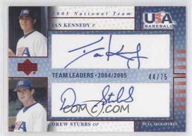2005 Upper Deck USA Baseball - Team Leaders Dual Autographs - Blue Ink #TL-13 - Ian Kennedy, Drew Stubbs /75