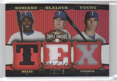 2006 Topps Triple Threads Relic Combos #TTRC-249 - Alfonso Soriano, Hank Blalock, Michael Young /18