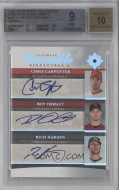 2006 Ultimate Collection - Ultimate Ensemble Signatures 3 #UES3-CHO - Chris Carpenter, Roy Oswalt, Rich Harden /50 [BGS 9]