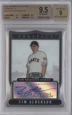 2007 Bowman Sterling - Prospects #BSP-TA - Tim Alderson [BGS9.5]
