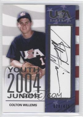 2007 USA Baseball 2004 Youth Junior Autographs #YJ-8 - Colton Willems /475