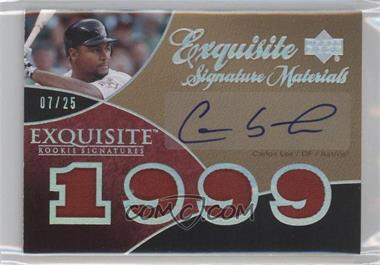 2007 Upper Deck Exquisite Rookie Signatures Exquisite Signature Materials Silver Spectrum Patch #ESM-CL - Carlos Lee /25