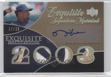 2007 Upper Deck Exquisite Rookie Signatures Exquisite Signature Materials Silver Spectrum Patch #ESM-RW - Rickie Weeks /25
