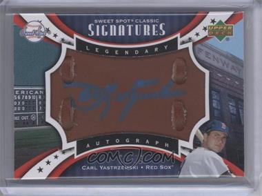 2007 Upper Deck Sweet Spot Classic Legendary Autograph Leather Blue Ink #SPS-CY - Carl Yastrzemski