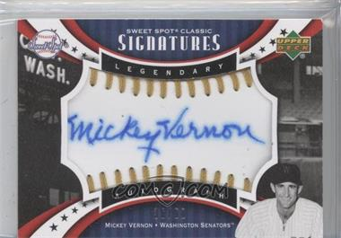 2007 Upper Deck Sweet Spot Sweet Spot Signatures Gold Stitch Blue Ink #SPS-MV - Mickey Vernon /50