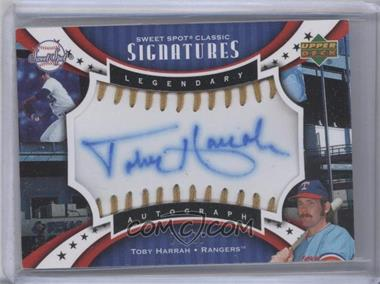 2007 Upper Deck Sweet Spot Sweet Spot Signatures Gold Stitch Blue Ink #SPS-TH - Toby Harrah