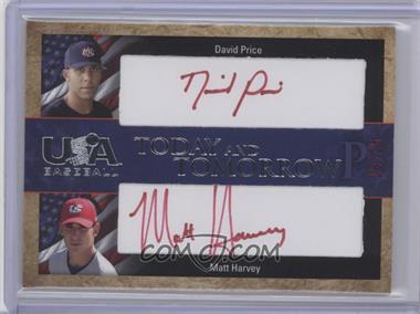 2007 Upper Deck USA Baseball Today and Tomorrow Dual Autographs Red Ink #TT-1 - David Price, Matt Harvey, Dan Prior /25