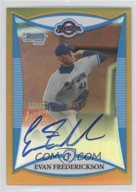 2008 Bowman Draft Picks & Prospects Prospects Chrome Gold Refractor #BDPP121 - Evan Frederickson /50