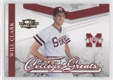 2008 Donruss Threads College Greats #CG-9 - Will Clark