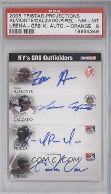 2008 TRISTAR PROjections - GR8 Xpectations Autographs Quadruple - Black 5 #N/A - NY's GR8 Outfielders (Zoilo Almonte, Josue Calzado, Jose Pirela, Carlos Urena) /5 [PSA8]