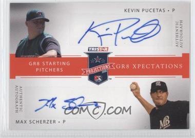 2008 TRISTAR PROjections GR8 Xpectations Autographs Dual Red 25 #KPMS - Kevin Pucetas, Max Scherzer /25