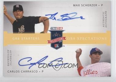 2008 TRISTAR PROjections GR8 Xpectations Autographs Dual Yellow #MSCC - Max Scherzer, Carlos Carrasco /25