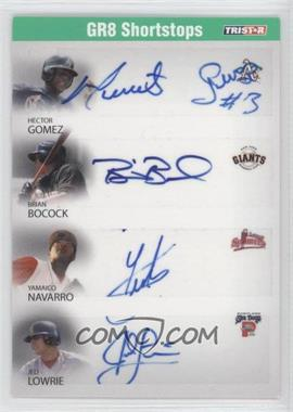 2008 TRISTAR PROjections GR8 Xpectations Autographs Quadruple Green #10 - Hector Gomez, Yamaico Navarro, Jed Lowrie /50