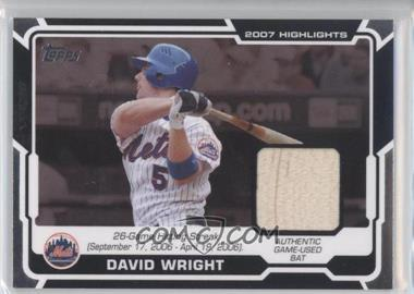 2008 Topps - Highlights Relics #HR-DW.1 - David Wright