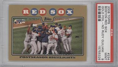 2008 Topps Gold Border #234 - Boston Red Sox Team /2008 [PSA 9]