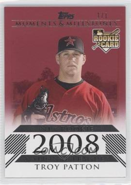 2008 Topps Moments & Milestones - [Base] - Red #186 - Troy Patton (National League Rookie) /1