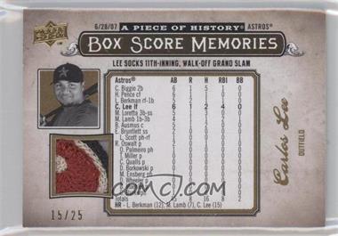 2008 Upper Deck A Piece of History Box Score Memories Gold Jerseys Patch [Memorabilia] #BSM-27 - Carlos Lee /25