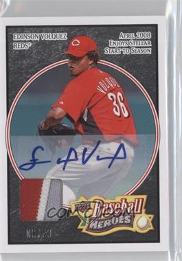 2008 Upper Deck Baseball Heroes - [Base] - Black Autograph Patch [Autographed] #69 - Edinson Volquez /25