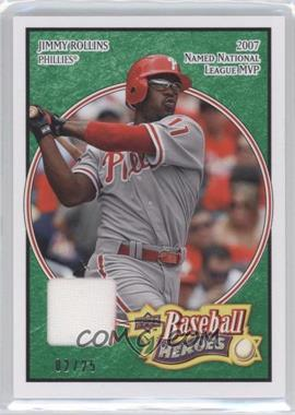 2008 Upper Deck Baseball Heroes - [Base] - Emerald Memorabilia #134 - Jimmy Rollins /25