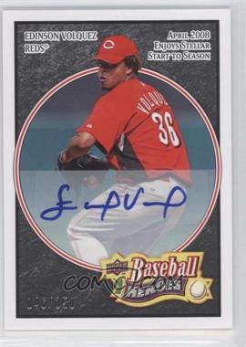 2008 Upper Deck Baseball Heroes Black Autograph [Autographed] #69 - Edinson Volquez /150